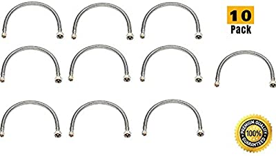 "EZ-Fluid Stainless Steel Braided Faucet Water Supply Hose Lines 1/2"" Fip x 3/8"" Comp x 20"" (Pack 10)"