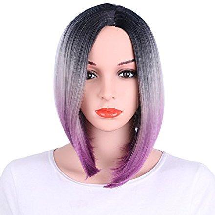 Beauty : AisiBeauty Synthetic Bob Wig Short Straight Hair Wigs for Women Shoulder Length Purple Ombre Wig 3 Tone Color Dark Roots Kanekalon Fiber