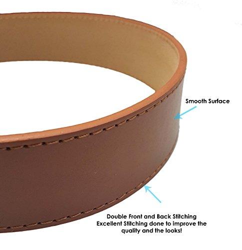 LUNA Premium Basic Genuine Leather Stitching Belt Strap - Black - 3X Large Photo #4