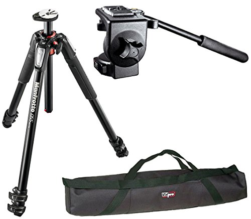 Manfrotto Professional Video Tripod Kit MT055XPRO3 Aluminium 3-Section Tripod with Horizontal Column and 128RC Micro Fluid Head with a Vidpro 35'' Padded Case by Manfrotto