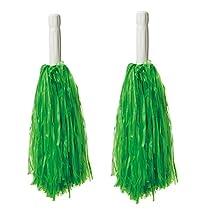 30 CM Long Plastic Cheerleading Poms (Pair), Green