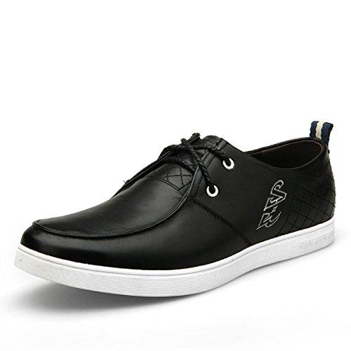GRRONG Zapatos De Cuero De Los Hombres Del Cuero Genuino De Ocio Black