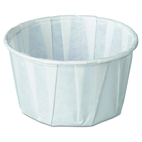 Genpak F325 Squat Paper Portion Cup, Pleated, 3.25 oz, White, 250 Per Bag (Case of 20 Bags)