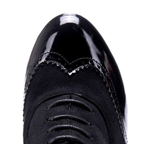 Schuhtempel24 Damen Schuhe Ankle Boots Stiefel Stiefeletten Trichterabsatz 11 cm High Heels Schwarz