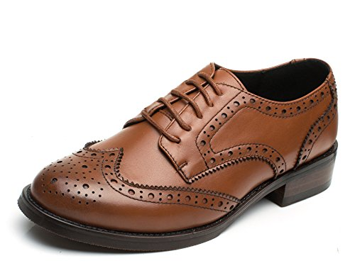 U-lite Women's Perforated Lace-up Wingtip Leather Flat Oxfords Vintage Oxford Shoes Brogues (11, Brown)