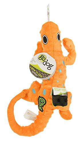 goDog Amphibianz Salamander with Chew Guard Technology Bubble Plush Squeaker Dog Toy, Medium, Orange ()