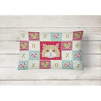 Caroline's Treasures CK5140PW1216 Oregon Rex Cat Love Canvas Fabric Decorative Pillow, 12H x16W, Multicolor : Garden & Outdoor