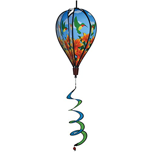 In the Breeze Hummingbird Lily 6-Panel Kinetic Hot Air Balloon Wind Spinner