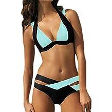 Women Bikini Set,IEason Women's Sexy Two Piece Swimsuit Swim Beach Wear Print Bandage Swimwear Bikini Set (XXL, Sky Blue)