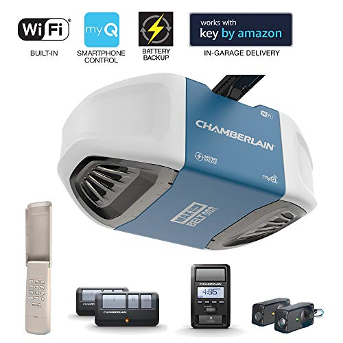 Chamberlain Group Chamberlain B970 Smartphone-Controlled Ultra-Quiet & Strong Belt Drive Garage Door Opener with Battery Backup and MAX Lifting Power, Blue, ()