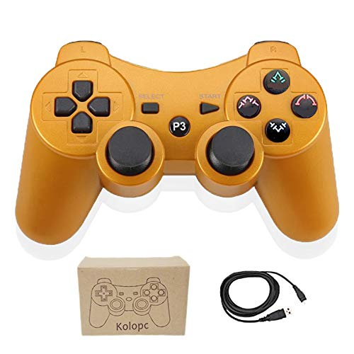 Wireless Controllers for PS3 Playstation 3 Dual Shock, Bluetooth Remote Joystick Gamepad for Six-axis with Charging Cable,Pack of 1(Gold) (Six Guns Ps3)