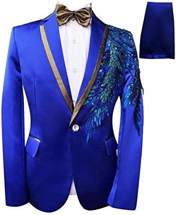 演出服 ステージ衣装 メンズ 舞台 スーツ メンス キラキラ ビジネススーツ セットアップ 一つボタン スリム 紳士礼服 ビジネス カジュアル 着心地抜群 パーティー 演奏会 フォーマル 結婚式 就職スーツ 司会者 (A, XXL)