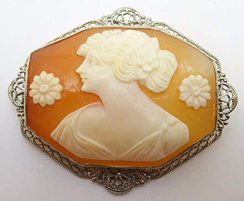 14k White Gold Filigree Octagon Genuine Natural Cameo Pin (#C3420) ()