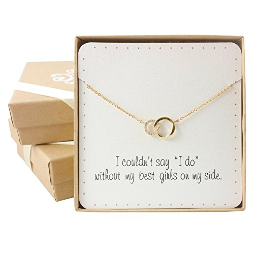 BRIDE DAZZLE Bridesmaid Gifts- Delicate Infinity Interlocking Circles Necklace (16