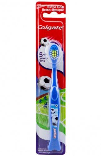 Colgate cepillo de dientes + Kids 5 extra suave, diseño de fútbol, colour azul