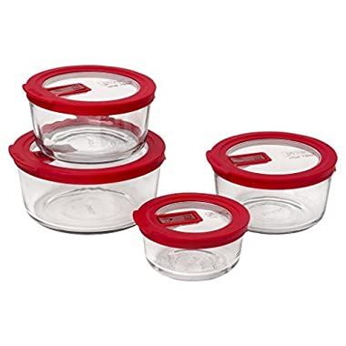Pyrex No Leak 8-Piece Round Glass Food Storage Set, Red