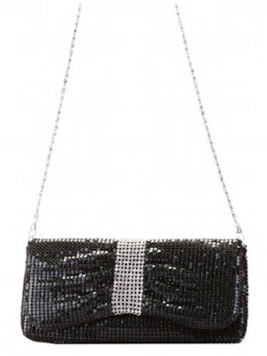 Black Crystal Rhinestone Metal Mesh Evening Shoulder Bag Purse, Bags Central