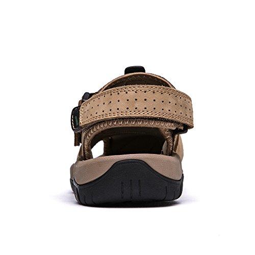 sandali sandali da a Vilocy pelle estivi trekking uomo in chiusa punta Khaki da sportivi nXxqHTR