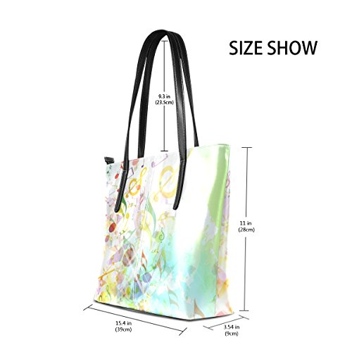 for women Tote and Bag Notes Music Purse Abstract PU Shoulder Shattered Background Bag Leather Handbags COOSUN q4v6Z8Wn