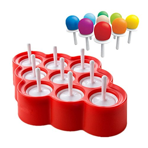 Sunshines Mini Ice Pop Mold Frozen Popsicle Maker Silicone DIY Ice Cream Candy Chocolate Molds Maker Set Of 9