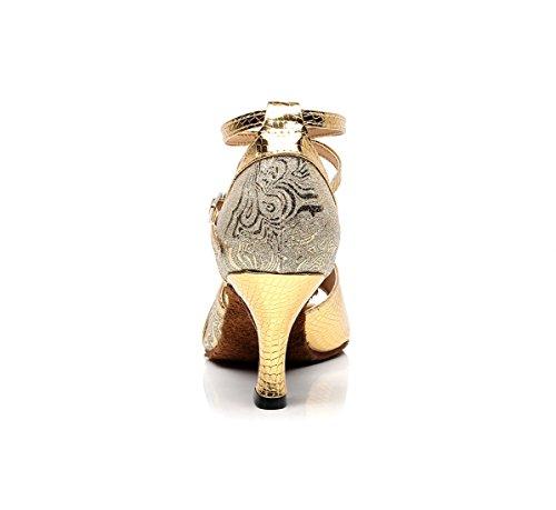 Strap Sandals Synthetic Latin Ladies 5 Ankle 6 Gold UK Fashion Handmade MINITOO Dancing Ballroom Salsa xIqYZ4P