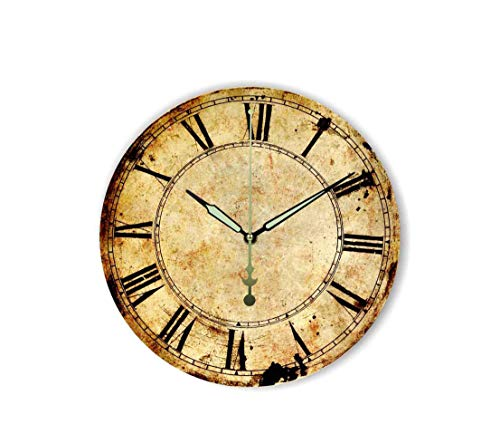 MOAAA Retro Wall Decoration Watch Vintage Home Decoration Wall Clock with Roman Number Silent Decorative Wall Clock for Study Room,Style 3,14Inch 35Cm