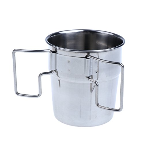 MagiDeal 4pcs Pack Stainless Steel Water Cups Outdoor Camping Coffee Mug with Folding Handle for Outdoors by Unknown (Image #6)
