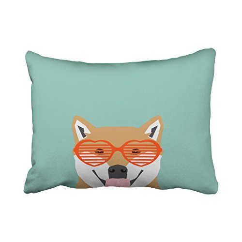 Birch Glass Waterfall (Tarolo Decorative Shiba Inu glasses dog cute shiba inu puppy gifts Pillow Case Size 20x26 inches(51x66cm) One Sided)