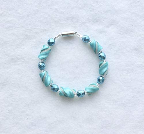 Soft Teal Pearl White Twsit Bead Bracelet Handcrafted Polymer Clay Magnetic Clasp Lightweight