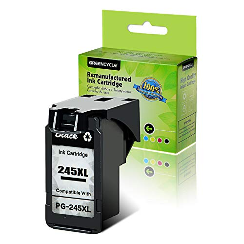 GREENCYCLE Re-Manufactured Ink Cartridge Replacement for Canon PG-245XL PG-245 245 XL Pixma MX490 MG2522 MG2525 MG2922 MG2924 MG3020 MG3022 MG3029 TS3120 TS3122 TS202 Printers (Black, 1 Pack)