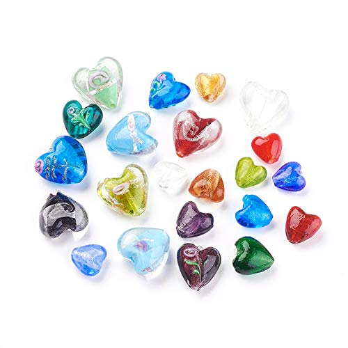 Handmade Silver Lampwork Earrings - Craftdaday 100Pcs Random Mixed Colors Handmade Silver Foil Lampwork Glass Heart Beads 12~20x12~21mm Love Heart Sweet Heart Spacer Loose Beads for DIY Jewelry Craft Making