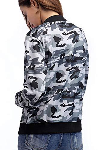 Cappotto Collo Ragazza Con Aviatore Donna Manica Corto Military Chic Anteriori Giacca Elegante Cerniera Camuffare Da Alta Coreana Camouflage Bomber Tasche Lunga Stampate Giaccone Vita Autunno Moda wSCfqUPx