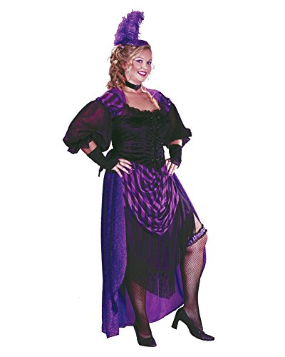 Purple Saloon Girl Costume (Plus Size Saloon Girl Theatre Costumes Maverick Wild West Sizes: One Size)