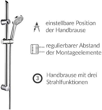 VBChome Plateado 3 tipos de chorro, con barra de ducha Juego de ducha