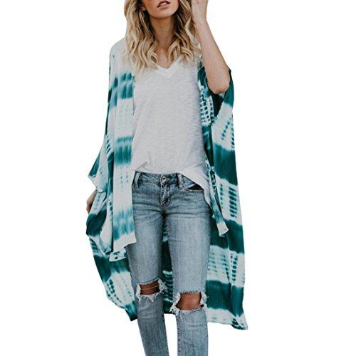 TOTOD Feitong Women Totem Long Chiffon Kimono Cardigans Blouse Flare Sleeve Cover Ups (M, Green) (Velvet Blouse Silk)