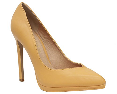 New Ladies Mid High Stiletto Heel Pointy Toe Low Platform Women Work Court Shoes TAN FAUX LEATHER VwCX7nZ