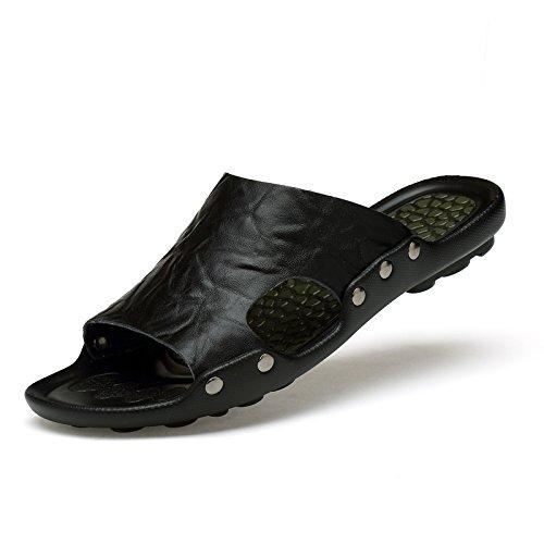 Xing Lin Sandalias De Hombre Zapatillas Casual Verano Masculinos Sandalias Deslizó Flip-Flops Sandalias Antideslizantes Tendencia Hombres Zapatillas black