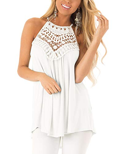Cnifo Womens Sleeveless Halter Tunic Blouse Summer Floral Crochet Swing Flowy Shirts Top White S