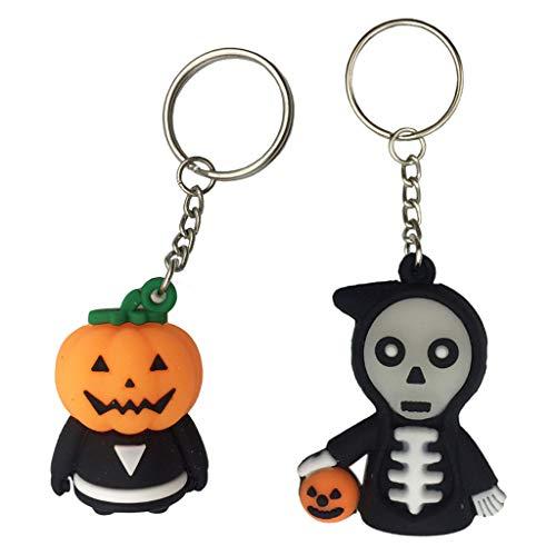 Pakala66 Halloween Death Keychain,Pumpkin Ghost Keychain Cartoon Ghost Keychain for Holiday Gift-2 Pack