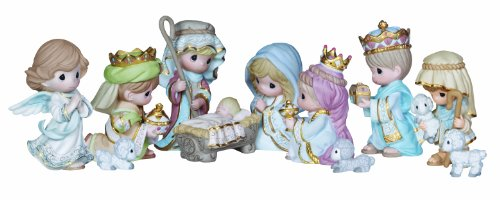 "Precious Moments, Christmas Gifts, ""Come Let Us Adore Him"", 11 Piece Set, Mini Bisque Porcelain Figurines, (Precious Moments Outdoor Nativity)"