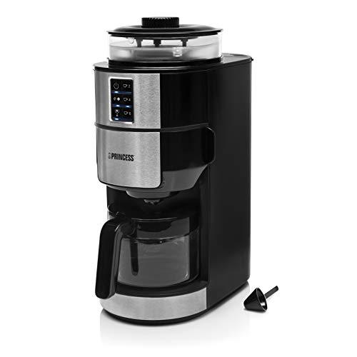 Princess 249408 Cafetera con molinillo de café compacta, Sistema de molido cónico, 750 W, para hasta 6 tazas de café…