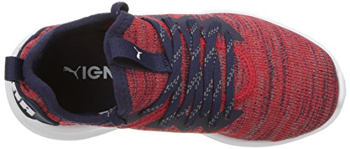 PUMA Unisex-Kids Ignite Flash Evoknit Sneaker, Ribbon Red-Peacoat White, 10.5 M US Little Kid by PUMA (Image #7)
