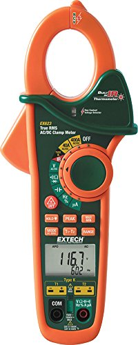 Extech EX623 True RMS 400A AC/DC Clamp Meter with Dual Type K, InfraRed Thermometer and NCV
