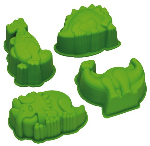 Kitchen Craft 5028250473615 Kitchencraft 4-Piece Let's Make Dinosaur Cake/Jelly Moulds, one Size, Green -