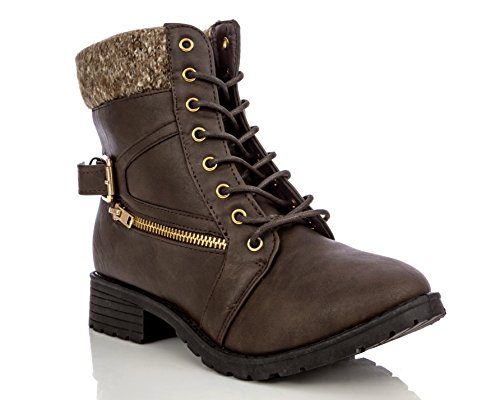Charles Albert Women's Lace-Up Sweater Ankle Padded Military Combat Hiking Work Boots with Side Zipper Pocket