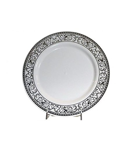 Fancy Feast Deluxe Disposable Dishware for Parties 20 Dinner and 20 Dessert Plates (Silver)