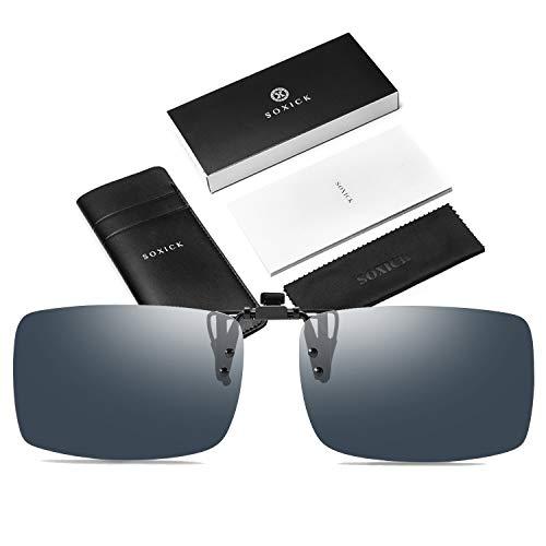 SOXICK Clip-on Sunglasses Polarized Unisex Anti-Glare Driving Glasses With Flip Up for Prescription Glasses (8513 -Black ()