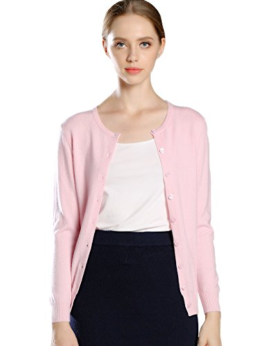 Aecsoc Women's Button Front Long Sleeve Crew Neck Cashmere Cardigan Sweater (Pink Cashmere Crewneck Sweater)