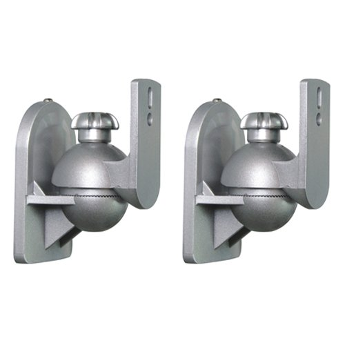Cmple - Universal Tilt and Swivel Wall Mount for Satellite Speakers (Up to 7.7 lb/each), Silver - Pair