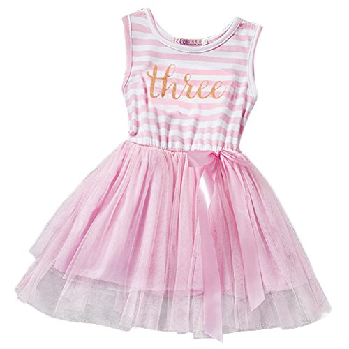 Iwemek Little Baby Girl Shinny Stripe 1st/2nd Birthday Cake Smash Sleeveless Crown Printed Tulle Tutu Party Outfit Dress, Pink (Three Years), One Size]()
